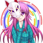 1girl blue_shirt bow fox_mask hakuhou_(ende_der_welt) hata_no_kokoro highres long_hair long_sleeves looking_at_viewer mask one_eye_covered open_mouth pink_hair plaid plaid_shirt shirt smile solo touhou upper_body violet_eyes
