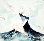 1girl aiming black_dress clouds cloudy_sky contrast dress frilled_dress frills green_hair hand_on_knee light_smile multicolored_hair ocean original paper_airplane personification sky solo squatting tofuvi two-tone_hair white_background