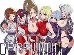 6+girls :d ;) ahoge angel_(kof) asamiya_athena ass belt black_gloves black_legwear blonde_hair blue_eyes blue_hair blue_mary braid breast_press breasts brown_eyes brown_hair cleavage collarbone fingerless_gloves gloves groin hair_over_one_eye hair_ribbon headband highres hohehohe japanese_clothes jewelry king_of_fighters kula_diamond large_breasts long_hair looking_at_viewer midriff multiple_girls navel necklace no_panties one_eye_closed open_mouth pelvic_curtain ponytail red_eyes revealing_clothes ribbon shiranui_mai short_hair silver_hair simple_background sleeveless smile symmetrical_docking teeth thigh-highs thumbs_up tongue tongue_out violet_eyes white_background white_gloves yuri_sakazaki