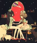 2girls arm_support basket black_hair book bookshelf bottle braid brown_hair chair commentary_request dog dress dress_lift hat kurokeisin listening multiple_girls muted_color nurse nurse_cap open_window original red_eyes red_shoes saturn sheep shelf shoes sitting sky star_(sky) starry_sky stethoscope surreal twin_braids white_legwear