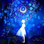 1girl abstract album_cover barefoot blue blush candle cover highres holding lace-trimmed_sleeves original see-through_silhouette short_sleeves solo stained_glass standing yoshida_yoshitsugi