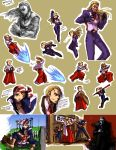 3boys bandana baseball_cap billy_kane blonde_hair blue_eyes bomber_jacket denim dougi fatal_fury fingerless_gloves formal geese_howard gloves grass hat highres itkz_(pixiv) jacket japanese_clothes jeans king_of_fighters laundry long_hair multiple_boys muscle necktie pants ponytail ryuuko_no_ken short_hair smile snk special_moves staff suit tank_top terry_bogard three_section_staff topless translation_request vest