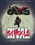 1girl ahoge akira alex_ahad biker_clothes brown_hair from_above from_behind kazama_akira motor_vehicle motorcycle parody rival_schools rival_schools:_united_by_fate short_hair shoulder_pads solo vehicle