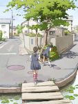 2girls black_hair bridge cityscape commentary highres house kneehighs leaning_forward lily_pad manhole multiple_girls original ponytail power_lines school_uniform short_hair tnt_(aaaazzzz) translated tree