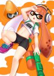1girl absurdres amber_eyes bike_shorts blush brown_hair headphones highres inkling langlong looking_at_viewer lying mask midriff navel on_back open_mouth pointy_ears shirt solo splatoon super_soaker tentacle_hair