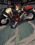 1girl ahoge akira alex_ahad biker_clothes brown_hair dust_cloud kazama_akira motor_vehicle motorcycle parody riding rival_schools rival_schools:_united_by_fate short_hair shoulder_pads smoke solo vehicle