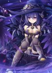1girl akatuti bird black_hair breasts crow fantasy jewelry long_hair original red_eyes solo thigh-highs witch