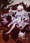 1girl breasts cleavage covered_mouth criin_(659503) dress fingernails full_body high_heels horns kantai_collection large_breasts long_hair looking_at_viewer midway_hime pale_skin red_eyes sharp_fingernails shinkaisei-kan solo veins very_long_hair white_dress white_hair