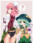 2girls ? ass bandages black_panties bow bun_cover chinese_clothes cuffs dango double_bun eating eyeball flower food from_behind green_eyes green_hair hat hat_ribbon heart heart_of_string highres ibaraki_kasen komeiji_koishi looking_back multiple_girls open_mouth panties pink_eyes pink_hair ribbon rose short_hair skirt skirt_lift smile spoken_question_mark tabard third_eye touhou u2_(5798239) underwear v wagashi