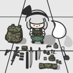 1girl ammunition assault_rifle backpack bag camouflage canteen chibi entrenchment_tool explosive flashbang grenade gun hair_ribbon hairband handgun highres howa_type_89 katana konpaku_youmu konpaku_youmu_(ghost) kyuusan-shiki_kisaku lighter m67_frag_grenade magazine_(weapon) operator pistol ribbon short_hair shovel sig_p220 silver_hair smile solo suppressor sword tent touhou vest weapon worktool