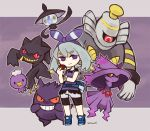 1girl @_@ banette blue_shoes bow character_request cosplay dress drifloon dusknoir gengar grey_hair hair_bow hair_ornament hex_maniac_(pokemon) lampent mismagius poke_ball pokemon pokemon_(creature) purple purple_background purple_dress satsumai shoes short_hair short_sleeves smile sneakers striped striped_bow tagme violet_eyes