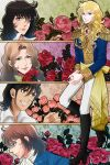 1girl 4boys absurdres alain_de_soissons andre_grandier black_hair blonde_hair blue_eyes brown_hair epaulettes flower hans_axel_von_fersen highres long_hair multiple_boys oscar_francois_de_jarjayes reverse_trap rose uniform versailles_no_bara victor_clement_de_girodelle yuuri_(kazuya1008)