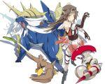 1girl brown_hair escavalier farfetch'd jintsuu_(kantai_collection) kantai_collection long_hair mtu_(orewamuzituda) poke_ball pokemon pokemon_(creature) ribbon samurott