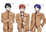 3boys black_hair blue_hair emiya_shirou fate/stay_night fate_(series) glasses kumio-appon matou_shinji multiple_boys orange_hair redhead ryuudou_issei school_uniform