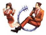1boy 1girl aken alternate_costume black_eyes black_hair chin_grab cosplay crossed_legs demiurge formal glasses gloves high_heels highres jumping long_hair looking_at_another looking_at_viewer narberal_gamma necktie overlord_(maruyama) pointy_ears profile red_eyes sitting skirt_suit suit tail vertical_stripes white_background