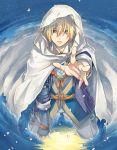 1boy blonde_hair blue_eyes highres hood kneeling komiyama_(yoshida_cant) male_focus partially_submerged petals reaching touken_ranbu water yamanbagiri_kunihiro