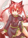 1girl :d animal_ears braid cat_ears dress fang frilled_dress frills ishimori_sakana kaenbyou_rin open_mouth red_eyes redhead smile spirit touhou twin_braids