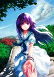 1girl bamboo_nima bangle blue_sky bracelet clouds cloudy_sky cowboy_shot highres hirose_sumire holding_hands jewelry long_hair looking_at_viewer neckerchief open_mouth outdoors pov_hands purple_hair saki school_uniform serafuku short_sleeves skirt sky smile solo stairs torii violet_eyes wooden_lantern