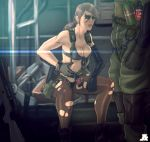 1boy 1girl bikini blue_eyes breasts brown_hair cleavage explosive facepaint front-tie_bikini front-tie_top grenade gun highres holster jesus_avalos long_hair metal_gear_(series) metal_gear_solid metal_gear_solid_v mismatched_gloves pantyhose planted_weapon ponytail quiet_(metal_gear) rifle single_elbow_glove sitting sniper_rifle soldier suspenders swimsuit thigh_holster torn_clothes torn_pantyhose weapon