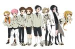 6+boys akita_toushirou atsu_toushirou black_hair blonde_hair blue_eyes brown_eyes brown_hair cape glasses gokotai gokotai's_tigers grey_eyes hakata_toushirou hirano_toushirou k-on! labcoat legwear_under_shorts maeda_toushirou male_focus midare_toushirou miyuli multiple_boys open_mouth pantyhose parody pink_hair ponytail red-framed_glasses shorts smile style_parody suspenders tiger tiger_cub touken_ranbu violet_eyes white_legwear white_tiger yagen_toushirou