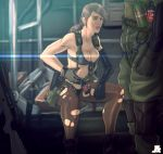 1boy 1girl bikini blue_eyes breasts brown_hair cleavage explosive front-tie_bikini front-tie_top grenade gun highres holster jesus_avalos long_hair metal_gear_(series) metal_gear_solid metal_gear_solid_v mismatched_gloves pantyhose planted_weapon ponytail quiet_(metal_gear) rifle single_elbow_glove sitting sniper_rifle soldier suspenders swimsuit thigh_holster torn_clothes torn_pantyhose weapon