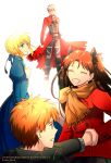archer emiya_shirou fate/stay_night fate_(series) niu_illuminator saber tohsaka_rin toosaka_rin two_side_up