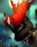1boy archer cape cosplay fate/stay_night fate_(series) final_fantasy final_fantasy_vii niu_illuminator solo squatting vincent_valentine vincent_valentine_(cosplay) white_hair