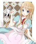 1girl alice_in_wonderland blonde_hair blue_eyes dress highres k-on! kotobuki_tsumugi long_hair ryoutan teapot