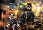 2girls armor armored_vehicle breastplate building cannon elbow_gloves fingerless_gloves garayann gloves greaves gun hair_ribbon highres mecha military military_vehicle multiple_girls ribbon rifle ruins shield smoke sword vehicle war weapon