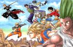 antlers bare_chest black_hair bleach blonde_hair blue_sky chain closed_eyes crosshatching dougi dragon_ball dragon_ball_z flying gakuran gon-san gon_freecss green_eyes green_hair grin hat hat_removed headband headwear_removed highres hunter_x_hunter japanese_clothes jojo_no_kimyou_na_bouken katana knife kurosaki_ichigo kuujou_joutarou midair monkey_d_luffy mountain naruto naruto_shippuuden one_piece orange_hair outline reindeer riding scar school_uniform shorts signature sky smile son_gokuu stand_(jojo) star_platinum super_saiyan sword takumi_(marlboro) tank_top tony_tony_chopper traditional_media uzumaki_naruto watercolor_(medium) weapon