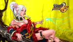 breasts cleavage fingernails flower hair_flower hair_ornament lips lipstick long_nails magic mole monster_hunter nail_polish nails pandaz pointy_ears solo white_hair