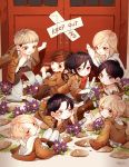 4boys 4girls age_regression annie_leonhardt armin_arelet barefoot black_hair blonde_hair brown_hair child christa_renz eren_jaeger grey_eyes jacket jean_kirchstein levi_(shingeki_no_kyojin) mikasa_ackerman multiple_boys multiple_girls oversized_clothes sasha_browse shingeki_no_kyojin sword weapon yellow_eyes young zwollowz