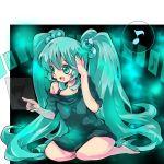 aqua_eyes aqua_hair bad_id barefoot face hatsune_miku kneeling long_hair makino_(pixiv158255) makino_(sinobusan) musical_note nail_polish short_dress smile solo twintails very_long_hair vocaloid