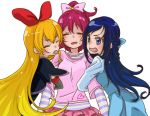 3girls 8041mm :p aida_mana arm_hug blonde_hair blue_eyes blue_hair bow braid closed_eyes cropped_jacket dokidoki!_precure dress hair_bow half_updo hishikawa_rikka jacket long_hair multiple_girls open_mouth pink_hair precure regina_(dokidoki!_precure) skirt sweatdrop tongue tongue_out