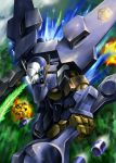 battle catsith explosion flying gundam gundam_g_no_reconguista highres itano_circus jellyman mecha missile montero_(gundam) motion_blur realistic science_fiction weapon