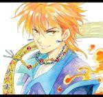 1boy agahari brown_eyes face fire fushigi_yuugi jewelry looking_at_viewer male_focus necklace orange_hair short_hair smile solo tasuki_(fushigi_yuugi) teeth traditional_media
