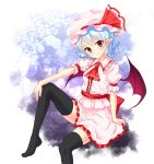 1girl arm_rest ascot bat_wings black_legwear blue_hair frilled_skirt frills gradient gradient_background hat hat_ribbon head_tilt junior27016 knee_up looking_at_viewer mob_cap no_shoes pointy_ears puffy_short_sleeves puffy_sleeves red_eyes remilia_scarlet ribbon sash short_hair short_sleeves sitting skirt skirt_set smile solo thigh-highs touhou wings