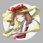 1girl bangs blush breasts brown_hair closed_eyes haruka_(pokemon) hug jirachi legendary_pokemon miu_(miuuu_721) pokemon pokemon_(game) pokemon_oras pokemon_rse red_ribbon red_shirt ribbon shirt simple_background smile