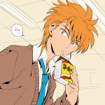 1boy cardigan drinking earrings fushigi_yuugi jewelry juice_box looking_at_viewer male_focus necktie orange_hair school_uniform short_hair solo straw tasuki_(fushigi_yuugi) tetsukuzu_tetsuko