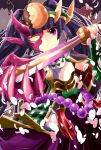 androgynous armor black_hair face_mask headdress highres katana long_hair looking_at_viewer mask pikomarie puzzle_&_dragons skirt sword twintails very_long_hair violet_eyes weapon yomi_(p&d)