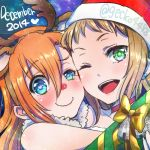 2girls animal_costume antlers blue_eyes blush brown_hair christmas earrings gecko4488 green_eyes hat heart heart-shaped_pupils jewelry kira_tsubasa kousaka_honoka looking_at_viewer love_live!_school_idol_project multiple_girls orange_hair red_nose reindeer_costume santa_costume santa_hat short_hair side_ponytail smile star star-shaped_pupils symbol-shaped_pupils twitter_username wavy_mouth yuri