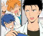 2boys 3boys black_hair blue_hair bracelet closed_eyes earrings fushigi_yuugi grin jewelry koji_(fushigi_yuugi) labcoat male_focus mitsukake_(fushigi_yuugi) multiple_boys open_mouth orange_hair scar short_hair smile tasuki_(fushigi_yuugi) teeth tetsukuzu_tetsuko waving