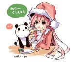 cake choujigen_game_neptune christmas eating food hat long_hair neptune_(series) panda panda_ears red_eyes redhead santa_costume santa_hat shakeko_(choujigen_game_neptune) sketch tsunako