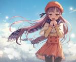 1girl bangs black_legwear blunt_bangs capelet chengnya clouds cloudy_sky commentary_request covering_mouth hair_ornament hairclip hat hat_ribbon long_hair mittens pantyhose purple_hair ribbon scarf skirt sky solo violet_eyes vocaloid xin_hua