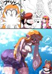 ! >_< 1boy 1girl 3koma :o ^_^ ass bent_over bike_shorts black_hair breasts closed_eyes clouds cloudy_sky comic crossover crying f.l.u.d.d. facial_hair fang from_behind grin hat highres huge_ass inkling kiwa_(pokemonwars) mario mario_(series) motion_lines mustache nintendo open_mouth orange_eyes orange_hair paint_stains parody pointy_ears shiny shiny_clothes shirt sky smile splatoon spoken_exclamation_mark style_parody super_mario-kun super_mario_bros. super_mario_sunshine tentacle_hair thumbs_up tower water wet wet_clothes white_shirt