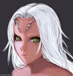 1girl dark_souls dragon_girl face green_eyes horns light_smile long_hair looking_at_viewer nose priscilla_the_crossbreed razalor solo souls_(from_software) white_hair
