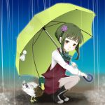 bird duck green_hair kantai_collection looking_at_viewer pantyhose rain short_hair takanami_(kantai_collection) umbrella