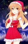 1girl brown_eyes brown_hair dress golden_time hat highres kaga_kouko long_hair nikitan_(niki) santa_hat
