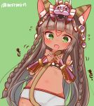 1girl animal_ears bangs bastet_(p&d) blunt_bangs blush braid cat_ears flying_sweatdrops green_background headdress long_hair marshmallow_mille midriff nail_polish puzzle_&_dragons red_nails solo tail tattoo twin_braids twitter_username vambraces wavy_mouth
