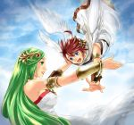 1boy 1girl ahoge blue_eyes breasts brown_hair green_eyes green_hair highres jewelry karasuma_pink kid_icarus kid_icarus_uprising large_breasts long_hair necklace outstretched_arms palutena pit_(kid_icarus) smile tiara